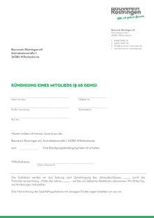 Kündigung - Bauverein Rüstringen