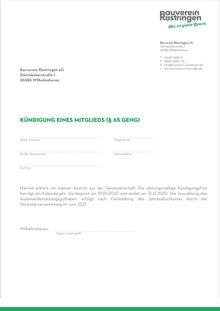 Kündigung Mitgliedschaft - Bauverein Rüstringen - Wohnungen