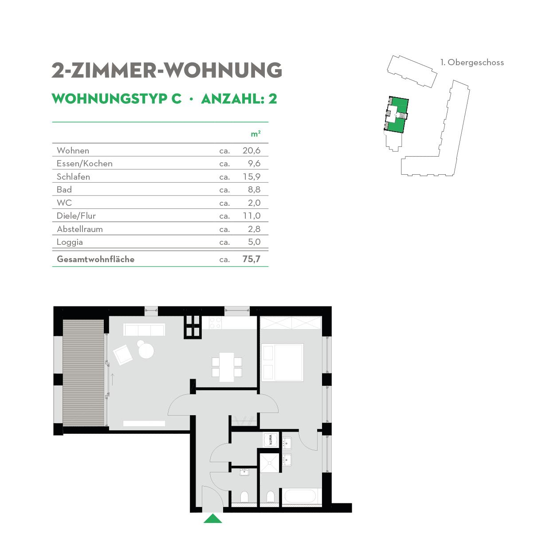 2 Zimmerwohnung Altbau - Typ C - Siebethsburg Wilhelmshaven