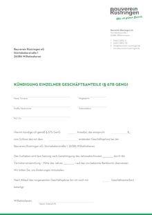 Kuendigung einzelner Anteile - Bauverein Rüstringen